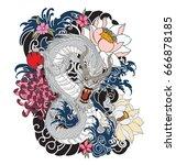 hand drawn dragon tattoo design ... | Shutterstock .eps vector #666878185