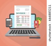 invoice concept illustration. | Shutterstock .eps vector #666885211