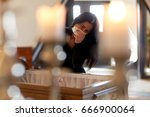 people and mourning concept  ... | Shutterstock . vector #666900064