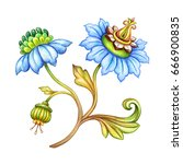 watercolor illustration  blue... | Shutterstock . vector #666900835