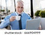 senior man expressing... | Shutterstock . vector #666904999