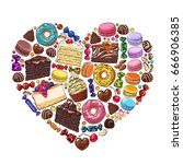 heart made of cakes  sweets ... | Shutterstock .eps vector #666906385