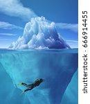 diver swimming near an iceberg. ... | Shutterstock . vector #666914455
