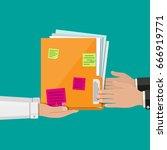 orange documents folder with... | Shutterstock .eps vector #666919771