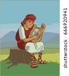 king david playing the harp  | Shutterstock .eps vector #666920941