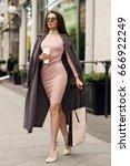 young beautiful stylish woman... | Shutterstock . vector #666922249