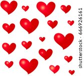 different sizes red hearts.... | Shutterstock .eps vector #666926161