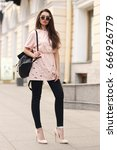 stylish girl wearing pink... | Shutterstock . vector #666926779