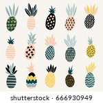 set of of cute pineapples with... | Shutterstock .eps vector #666930949