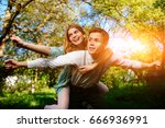 portrait of happy couple... | Shutterstock . vector #666936991