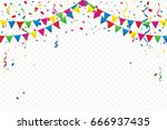 colorful party flags with... | Shutterstock .eps vector #666937435