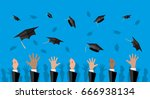hands of graduates throwing... | Shutterstock . vector #666938134