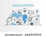digitilization concept as... | Shutterstock .eps vector #666945934
