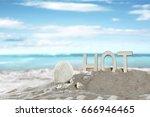summer desk space  | Shutterstock . vector #666946465