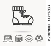 boot icon. hiking or work shoe... | Shutterstock .eps vector #666947581