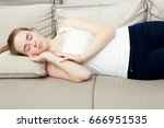 pregnant woman sleeping on a... | Shutterstock . vector #666951535