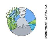 volcano doodle vector logo ... | Shutterstock .eps vector #666952765