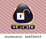 gold badge with open lock icon ... | Shutterstock .eps vector #666956419