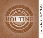 routine badge with wood... | Shutterstock .eps vector #666960955