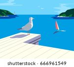 nautical poster concept. blue... | Shutterstock .eps vector #666961549