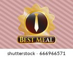shiny badge with necktie icon... | Shutterstock .eps vector #666966571