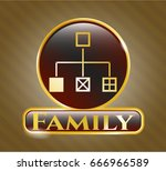 gold badge with flowchart icon ... | Shutterstock .eps vector #666966589