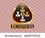 gold shiny badge with business ... | Shutterstock .eps vector #666970231