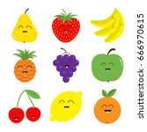 fruit berry icon set. pear ... | Shutterstock . vector #666970615