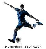 one caucasian soccer player man ... | Shutterstock . vector #666971137