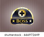 gold emblem or badge with... | Shutterstock .eps vector #666972649