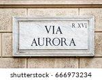 Via Aurora Street Sign On The...
