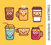 cup emoji set with cheeks and... | Shutterstock .eps vector #666978811