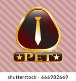 gold badge or emblem with... | Shutterstock .eps vector #666982669