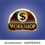 gold shiny badge with money... | Shutterstock .eps vector #666983065