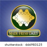 gold shiny badge with business ... | Shutterstock .eps vector #666983125