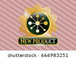 gold emblem or badge with... | Shutterstock .eps vector #666983251