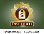 gold badge or emblem with... | Shutterstock .eps vector #666983305