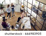 from above view of people in... | Shutterstock . vector #666983905