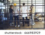 group of young people standing... | Shutterstock . vector #666983929