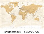 vintage world map   detailed... | Shutterstock .eps vector #666990721