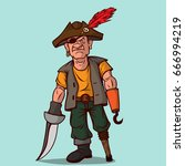 pirate with a sword on a wooden ... | Shutterstock .eps vector #666994219