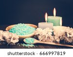 spa candle and salt. cosmetic... | Shutterstock . vector #666997819