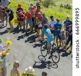 Small photo of COL DU GRAND COLOMBIER,FRANCE-JUL 17: The Italian cyclist Vincenzo Nibali of Astana Team riding on the road to Col du Grand Colombier in Jura Mountains during the stage 15 of Tour de France 2016.