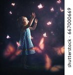 a little girl chasing glowing... | Shutterstock . vector #667000669