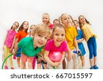 sporty kids and gymnastics... | Shutterstock . vector #667015597