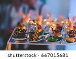 beautifully decorated catering... | Shutterstock . vector #667015681