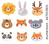 collection of animal face.... | Shutterstock .eps vector #667015831