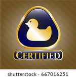 gold shiny emblem with rubber... | Shutterstock .eps vector #667016251