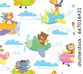 seamless pattern with cute... | Shutterstock .eps vector #667016431