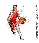 colored hand sketch basketball... | Shutterstock .eps vector #667016629